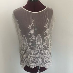Forever 21 Sheer Lace Top Size L